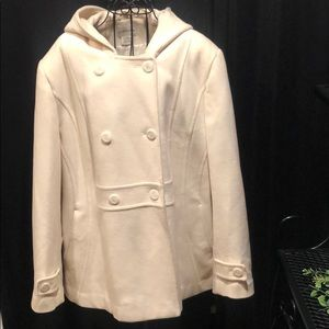 Ladies wool hooded pea coat